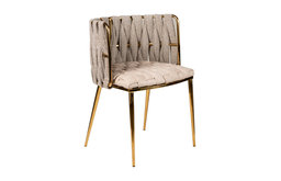 Milano Dining Chair in Off White, Gold Legs