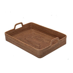 KOUBOO - Rectangular High-Walled Serving Tray in Honey-Brown Rattan - Serving Trays