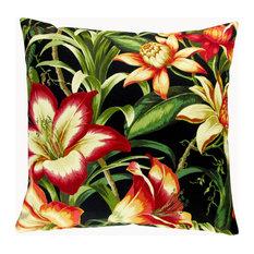 """Artisan Pillows Outdoor 18"""" Hibiscus Tropical Island Throw Pillow, Set of 2"""