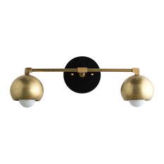 Mid-Century Modern Black/Brass Sphere Vanity