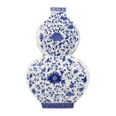 "Beautiful Rectangular Top Blue and White Porcelain Gourd Vase 14"""