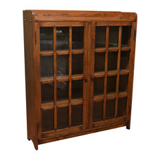 Mission Oak Bookcase With 2 Glass-Doors