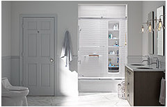 What are the ways to make tileless shower walls and floors?