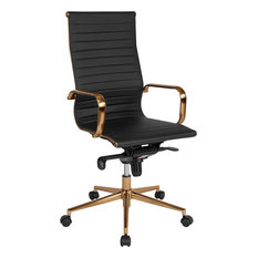 gray swivel office chair 75 vintage wooden drawers flash furniture high back ribbed leather executive swivel chair with kneetilt control and seat height 24 inch office chairs houzz