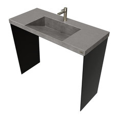 "40"" Contempo Vanity With Concrete Ramp Sink, Charcoal"