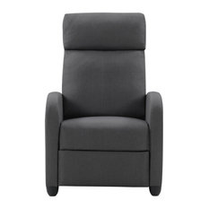 CorLiving Dark Gray Fabric Recliner Chair With Extending Foot Rest