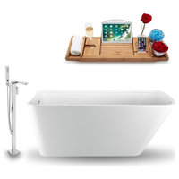 """Streamline 59"""" Freestanding Tub, Faucet and Tray Set, H-140 Faucet"""