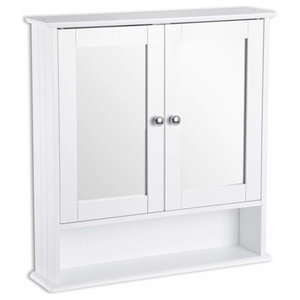 Wall Mounted Cabinet, MDF With White Finish, Mirrored Door, Inner and Open Shelf