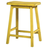"""ACME Furniture Gaucho 24"""" Counter Stool in Antique Yellow (Set of 2)"""