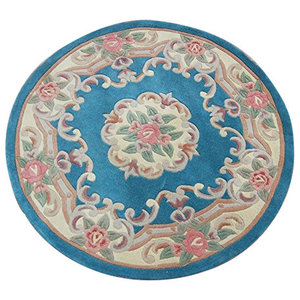 Chinese Round Rug, Blue, 120 cm, Round