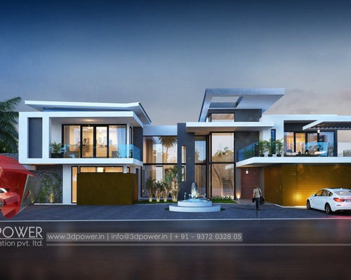 Luxurious 3D Modern Bungalow rendering & elevation design by 3D Power