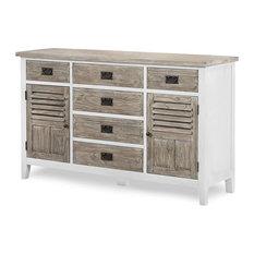 Catania 6-Drawer, 2-Door Dresser, Weathered Pine/White