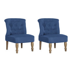 VidaXL 2x French Chairs Elegant Sturdy Blue Fabric Home Furniture Seating