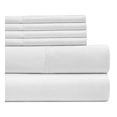6 Piece Bed Sheets Set by Lux Decor, White, King