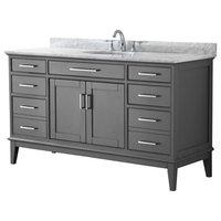 """60"""" Single Bathroom Vanity, Dark Gray,Carrara Marble Top,Oval Sink,No Mirror"""