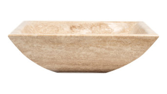 Natural Stone Vessel Sink, Rectangular Travertine