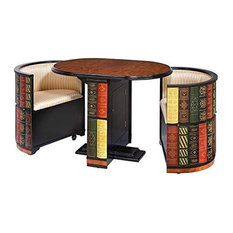Nested Table And Chair Set MDF With Hidden Storage Bookshelf Patterned