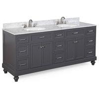 Amelia Double Bath Vanity, Base: Charcoal Gray, Top: Carrara Marble