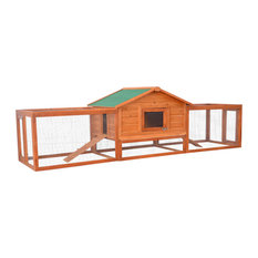 Pawhut Deluxe Wooden Rabbit Hutch/Chicken Coop With Double Outdoor Runs, 122""