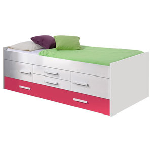 iPink Trundle Bed With 2 Doors and 2-Drawers, 100x200 cm