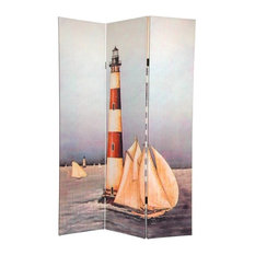 6' Tall Double Sided Lighthouses Canvas Room Divider