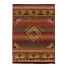"""Aspire Southwest Lodge Red and Beige Rug, 6'7""""x9'1"""""""