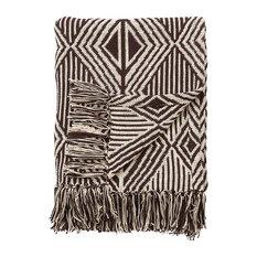 Jaipur Tribal Pattern Black White Cotton NTH09 Throw