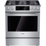 """Bosch - Bosch 30"""" Gas Slide-in Range, Stainless Steel - Boschs 800 series 30 full depth dual fuel slide-in range fits into any freestanding range cutout and offers 5 sealed burners and an oven with 48 cu ft capacity This range features a powerful 18000 BTU center burner which speeds cooking time significa..."""