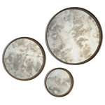 Renwil - Shire Mirrors, Set of 3 - This set of round smoky mirrors features a rusted silver metal frame and makes a great decor piece. These mirrors would look amazing in a Transitional-style home. This trio makes a grand statement in a living room, bedroom or entryway.