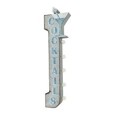 Cocktails Double Sided Rustic Metal Vintage Marquee Light Sign, Battery Operated