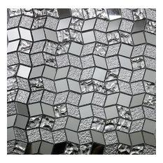 "11.42""x11.42"" Diamond Shape Silver Mirror Mosaic Glass Tile"