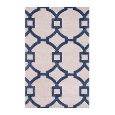 "3'6""x5'6"" Area Rug Rectangle White Dark Blue Handmade Hand-Tufted"