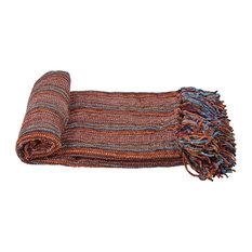 "Multi-Color Crystal Chenille Throw Blanket, Blue/Orange/Purple, 60""x80"""