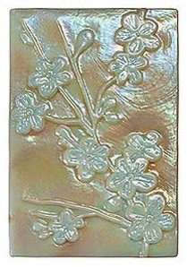 "Iridescent Cherry Blossom Glass Rectangle ""SANDSTONE"" color - Tile"