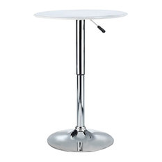 Contemporary Bistro Bar Table, Chrome Plated Base, White