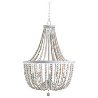 Dumas 5 Light Wood Bead Chande, White With Distressed White Beads