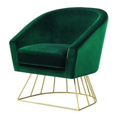 Amazing Inspired Home   Alice Velvet Barrel Accent Chair With Metal Base,  Green/Gold
