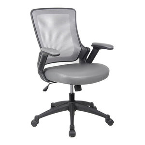 Techni Mobili Mid-Back Mesh Task Office Chair With Height Adjustable Arms, Gray