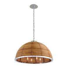 Carayes by Martyn Lawrence Bullard Rattan Chandelier, Stainless Steel, 30""