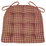 Barnett Home Decor - Checkers Red & Tan Dining Chair Pads Farmhouse, Standard - Checkers Red and Tan checked dining chair pads by are made in a traditional checkered pattern with quarter inch checks of red and tan -perfect for a farmhouse style kitchen or country decor dining room!