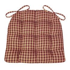 Barnett Home Decor Checkers Red Tan Dining Chair Pads Farmhouse Standard Seat