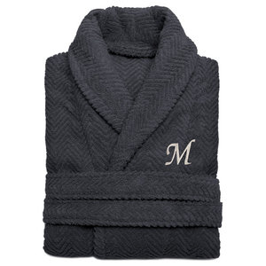 Herringbone Weave Gray Bathrobe, Small/Medium, White Letters, M