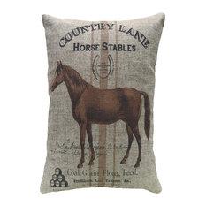"""Horse Stables Linen Pillow, 18""""x12"""""""