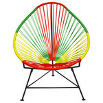 Innit Designs - Multicolor Acapulco Chair, Portugal Weave, Black Frame - With a more laid back pear-shaped profile than our Innit Chair, the Acapulco Chair is comfortable without a cushion and made to last stylishly for years with its durable powder coated steel frame and colorfastUV-resistant woven vinyl cord.Available in an ace range of 18 vinyl cord colors and 5 frame finishes; the Acapulco Chair is weatherproof, breathable, stackable, easy to clean and perfect for both residential and commercial applications. Note: Chrome and copper frame finishes are suitable for indoor use only, while our stainless version is perfect for your yacht or seaside home.