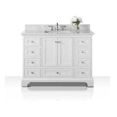 "Audrey Vanity Set, White, 48"", Brushed Nickle Hardware, Carrara White Marble"