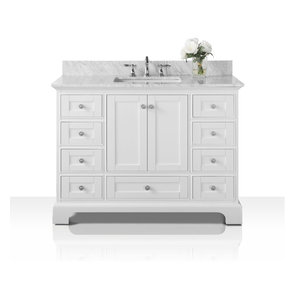 "Audrey Vanity Set, White, 48"", Brushed Nickle Hardware, Carrara White Marble"