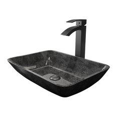 VIGO Gray Onyx Glass Vessel Bathroom Sink Set With Duris Vessel Faucet