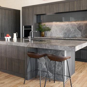 Dark Grey Brown Sophisticated Kitchen