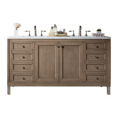 "Chicago 60"" Whitewashed Walnut Double Vanity w/ 3cm Carrara White Marble Top"