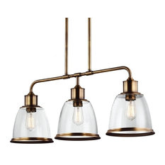 Feiss 3-Light Island, Aged Brass